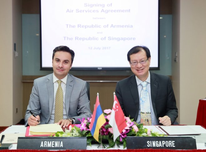 Singapore closes open skies agreement with Armenia