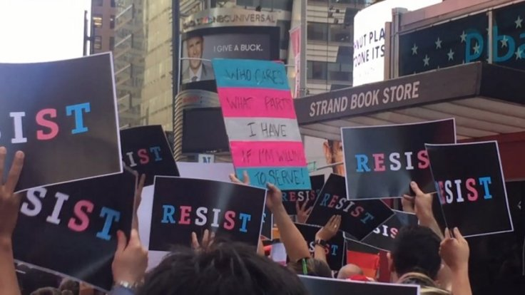Transgender rights activists protest Trumps military ban in Times Square