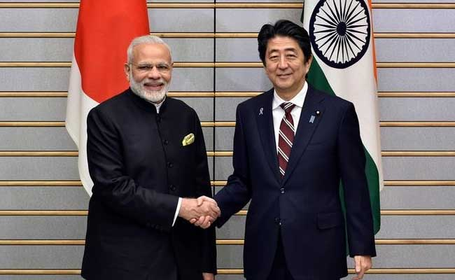 Japan's Prime Minister Shinzo Abe with Narendra Modi