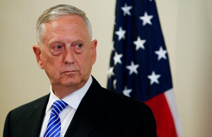U.S. Defence Minister Mattis is seen during a press conference at the George C. Marshall..