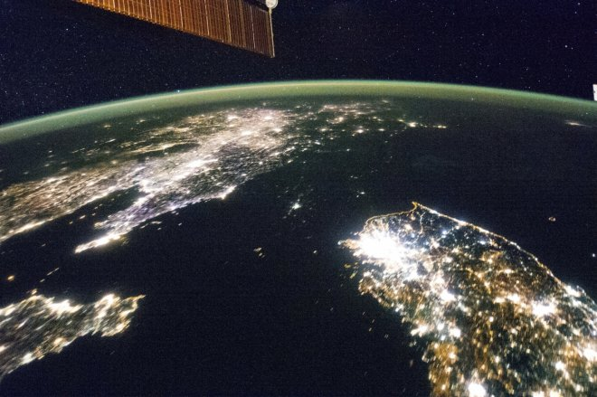 Undated NASA handout picture of North Korea (the dark area) and South Korea