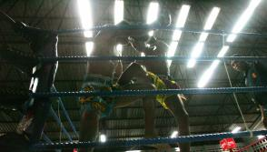 "Thai ""muay Thai"" boxers kick each other during fight in Thailand's Phuket."