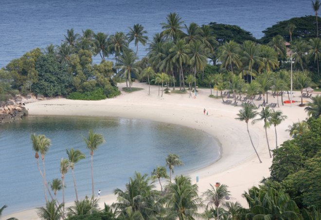 A view of a beach on the island resort of Sentosa in Singapore