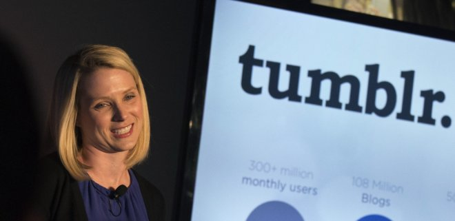 Yahoo Chief Executive Marissa Mayer speaks at a news conference in New York