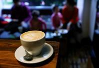 A cappuccino coffee cup is seen at Moko cafe in Warsaw