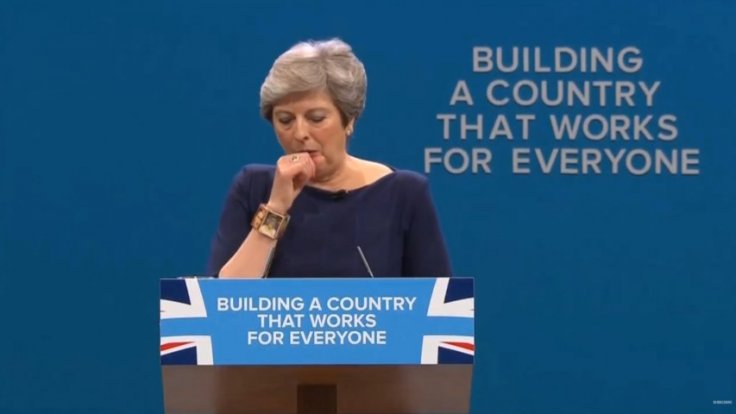 Theresa May has coughing fit during disastrous speech