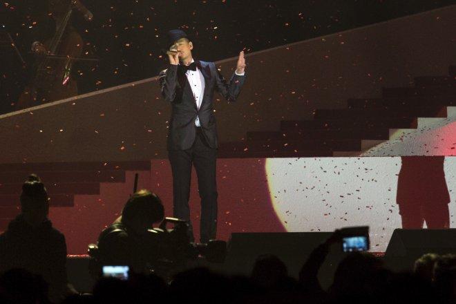 Hong Kong singer Jacky Cheung performs during a concert.