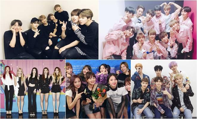BTS, Wanna One, EXO, TWICE and Red Velvet