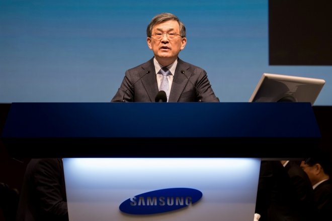 Kwon Oh-Hyun, co-chief executive officer of Samsung Electronics Co., speaks during the company's annual general meeting at the Seocho office building in Seoul, South Korea, March 24, 2017