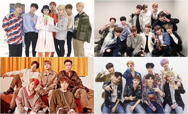 (Clockwise from top left) BTS, Wanna One, EXO and Sechs Kies