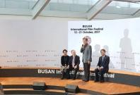 Korean President Moon Jae-in speaks at the Busan International Film Festival