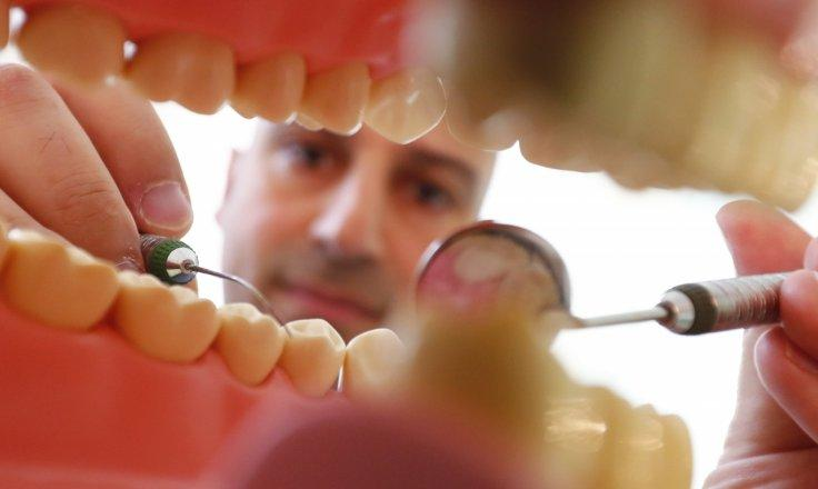 Dentist Sevan Arzuyan poses for an illustration picture with a teeth model at his surgery room in Hanau near Frankfurt, Germany