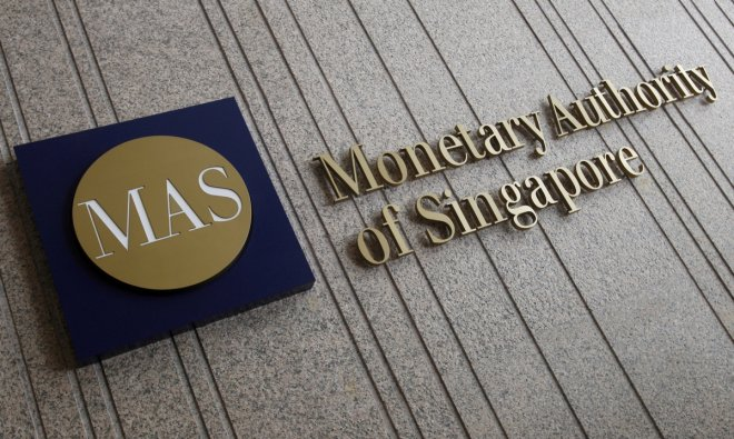 The logo of the Monetary Authority of Singapore at its building in Singapore