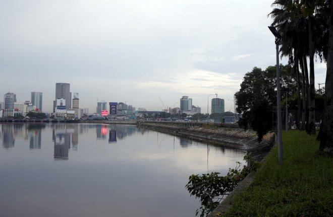 Malaysia's southern city of Johor Bahru from Singapore