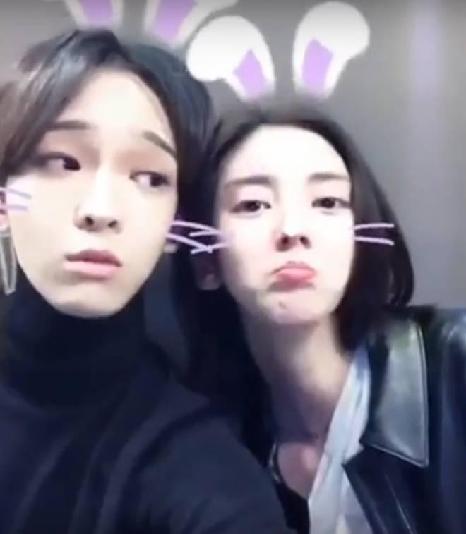 Nam Tae Hyun (left) and Son Dam Bi in the video