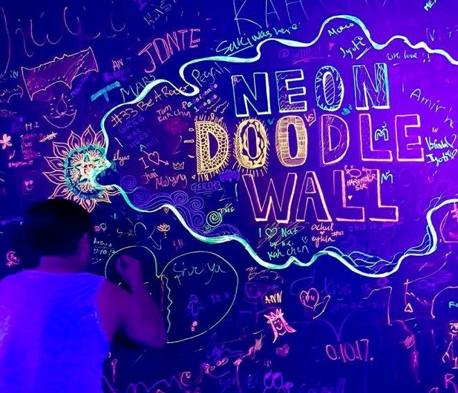 Neon Doodle Wall