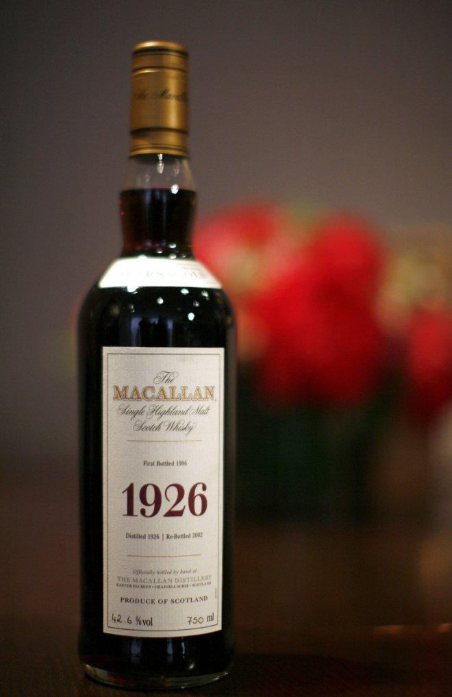 Bottle of Macallan scotch distilled in 1926