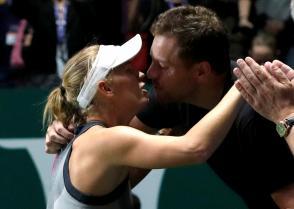 Caroline Wozniacki  with David Lee in Singapore