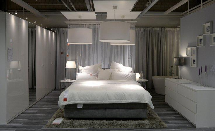 A bedroom set up is pictured in IKEA's first city centre store in Hamburg