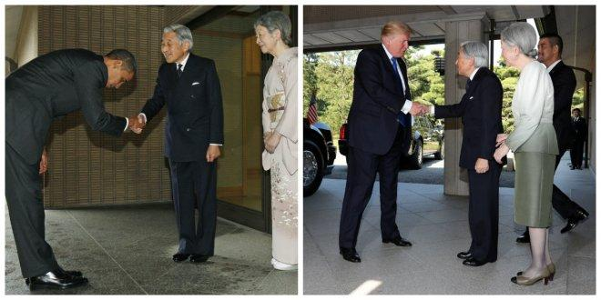 Trump never bowed to japan emperor no protocol blunder either us presidents greeting japanese emperor m4hsunfo