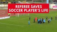 Referee saves soccer players life