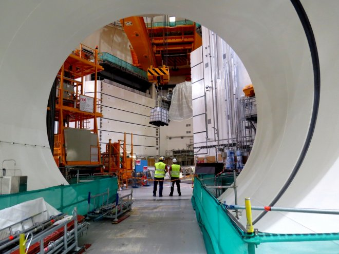 Specialists work inside Olkiluoto-3 nuclear reactor in Eurajoki