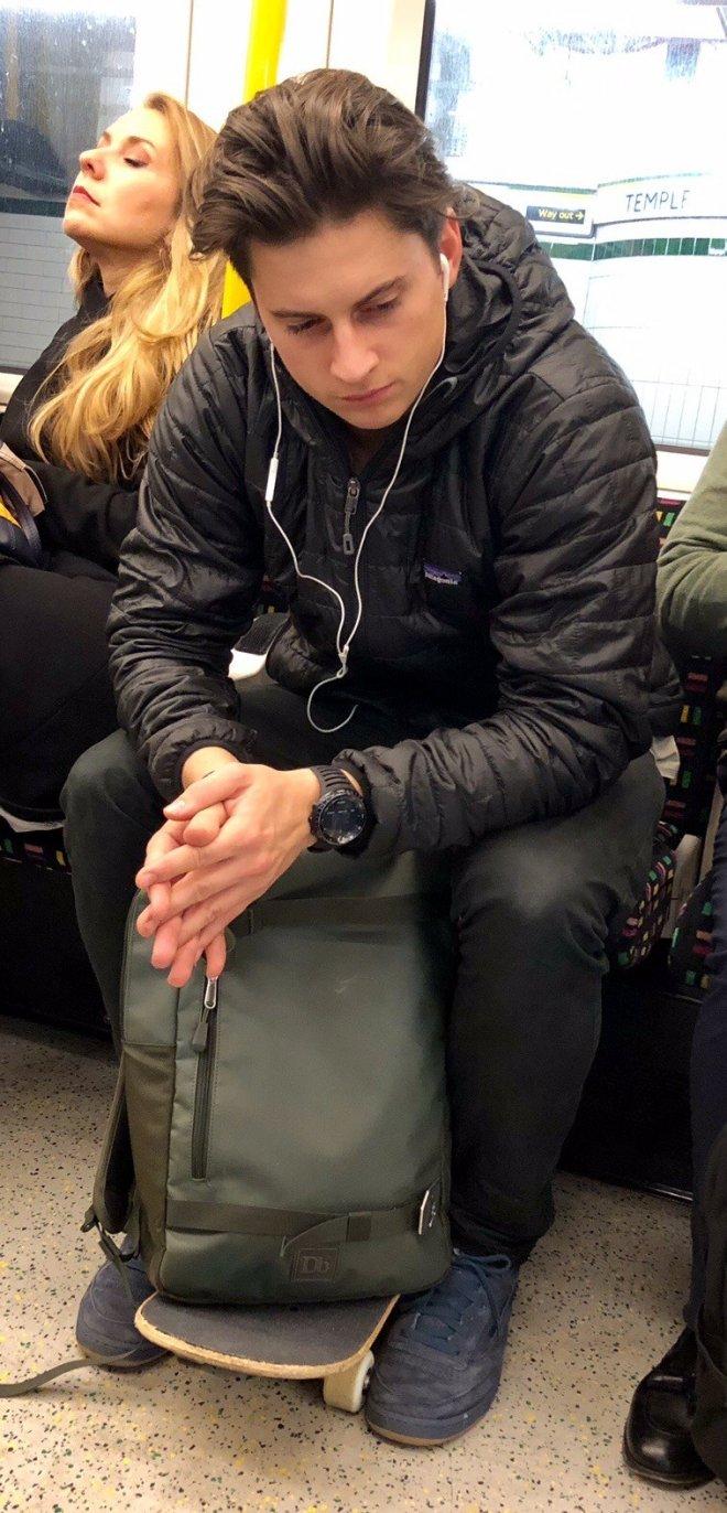 Men in public transport