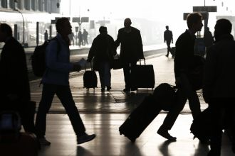 Travelers traveling for holidays