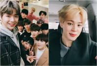 Kang Daniel and Wanna One members (left) and BTS' Jimin