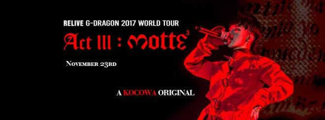 G-Dragon 2017 World Tour streaming on Kocowa