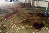 An interior view of Al Rawdah mosque is seen after an explosion