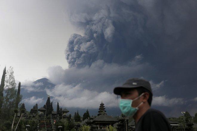 Mount Agung volcano erupts
