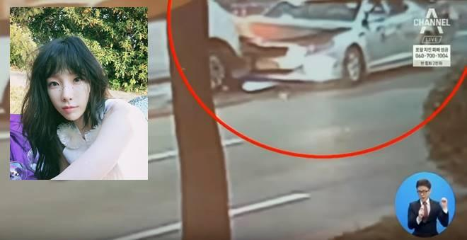 CCTV footage showing a taxi suffering severe damage after Taeyeon's car crashed into it
