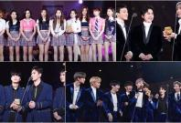 (Clockwise from top left) TWICE, EXO-CBX, Wanna One and NU'EST W