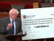 Bernie Sanders challenges Donald Trump with his own tweets vowing not to cut social security, Medicare or Medicaid
