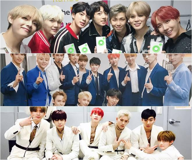 (From the top) BTS, Seventeen and Monsta X
