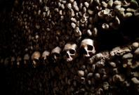 Human skulls and bones which are stacked in the ossuary room in the catacombs of Paris