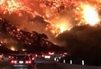 Highway to Hell - Driver films terrifying wildfire in Los Angeles