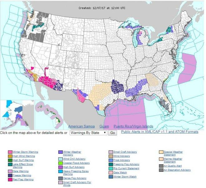 Weather warnings in US