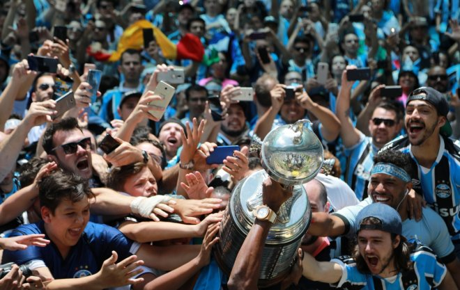 Gremio fans celebrate after winning the Copa Libertadores final