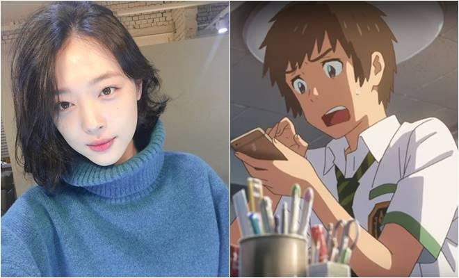 Sulli (left) and a scene from 'Your Name' (Instagram and screenshot from YouTube video)