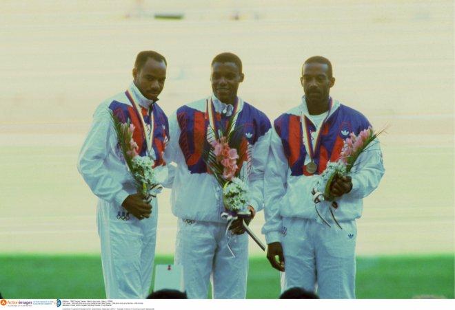 1988 Olympic Games, long jump medal winners Mike Powell - USA silver and Larry Myricks - USA bronze  Mandatory