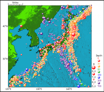 Earthquake distribution around Japan