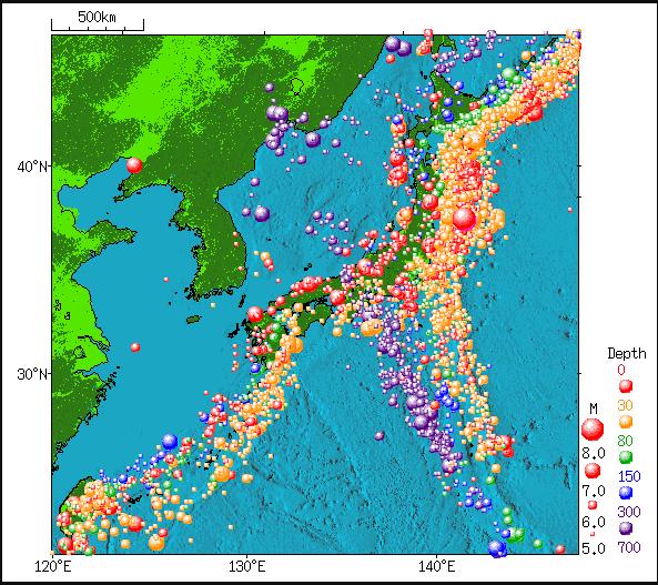 Earthquake distribution around Japan