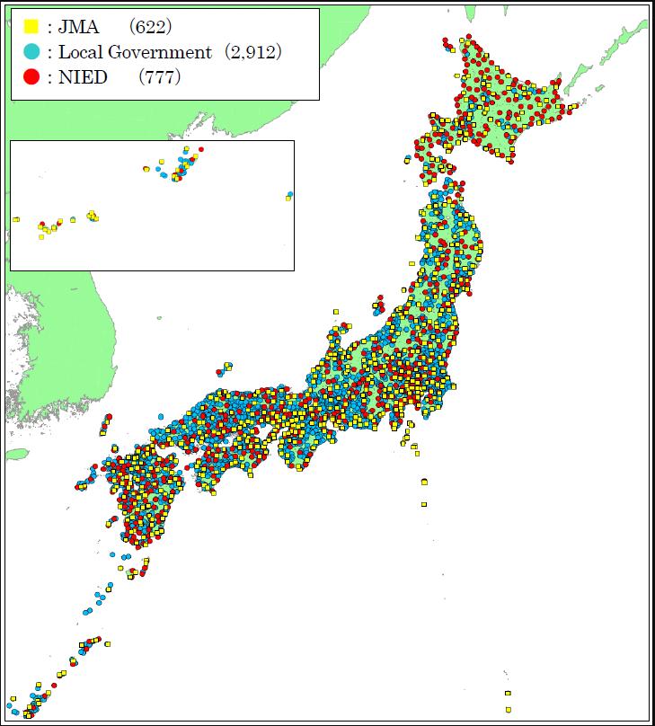 Sites of seismic intensity meters