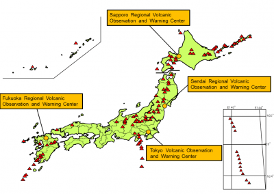 Active volcanoes in Japan