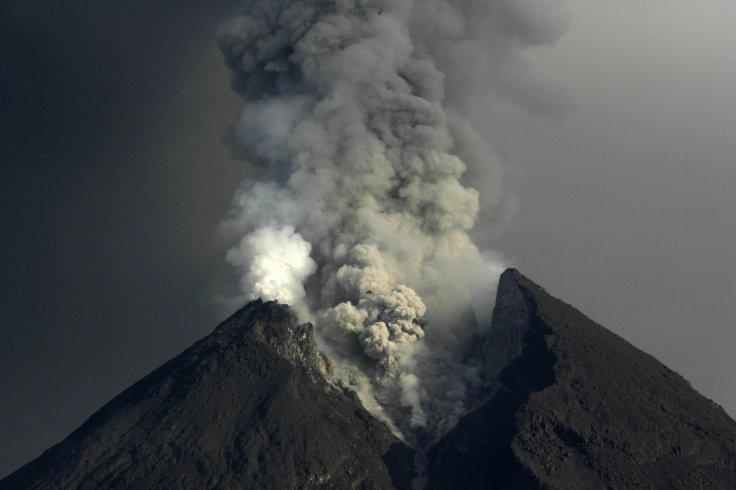 Mount Merapi volcano spews ash as seen from Kali Tengah