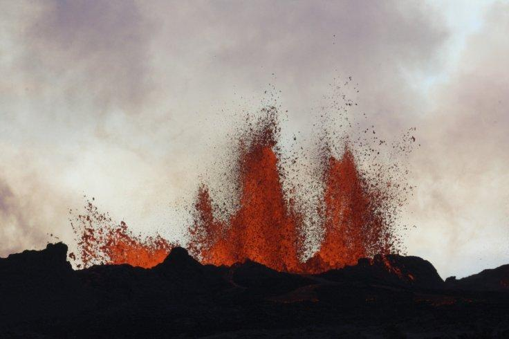 Lava fountains are pictured at the site of a fissure eruption near Iceland's Bardarbunga volcano