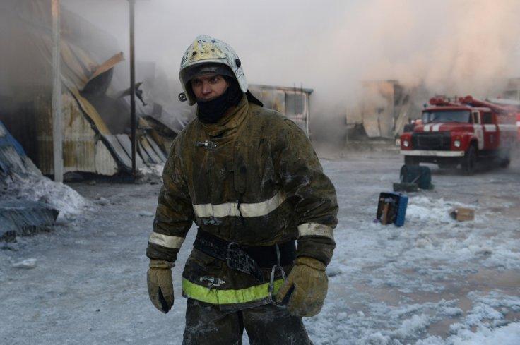 Worker outside snowy
