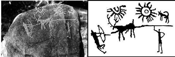 Photograph of stone Carving from Burzahom (Courtesy IGNCA) along with a sketch of the same.